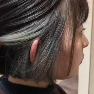 ワンレングス ナチュラル インナーカラー ショートボブ ヘアスタイルや髪型の写真・画像