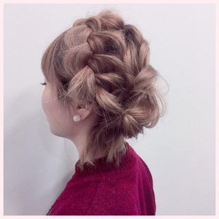 ヘアアレンジ 編み込み ミディアム ショート ヘアスタイルや髪型の写真・画像