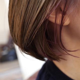 ボブ バイオレット ハイライト インナーカラー ヘアスタイルや髪型の写真・画像