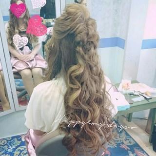 ゆるふわ ブライダル ヘアアレンジ ウェーブ ヘアスタイルや髪型の写真・画像