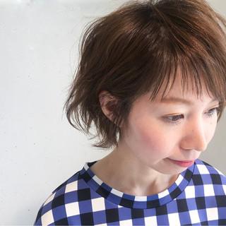 ショート 斜め前髪 ニュアンス 前髪あり ヘアスタイルや髪型の写真・画像