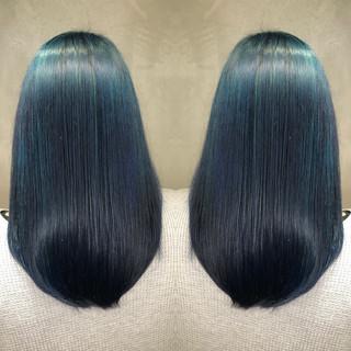 ストリート ネイビー ハイライト グラデーションカラー ヘアスタイルや髪型の写真・画像