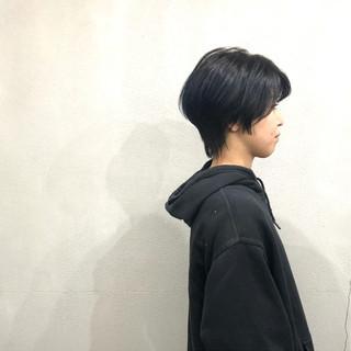 簡単スタイリング ショート ナチュラル ネイビーブルー ヘアスタイルや髪型の写真・画像