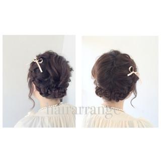 簡単ヘアアレンジ フェミニン 結婚式 二次会 ヘアスタイルや髪型の写真・画像