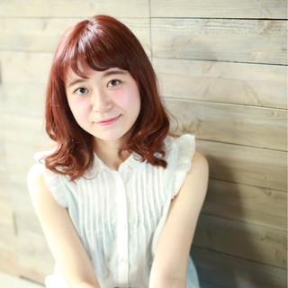 アプリコットオレンジ レッド ミディアム オレンジ ヘアスタイルや髪型の写真・画像 ヘアスタイルや髪型の写真・画像
