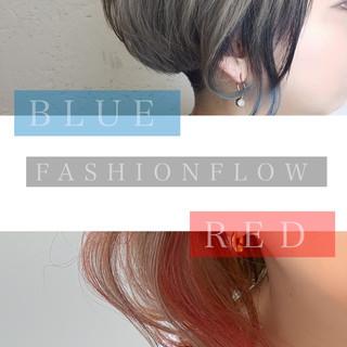 インナーカラーグレージュ インナーカラーレッド インナーカラーパープル ガーリー ヘアスタイルや髪型の写真・画像