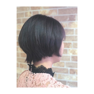 透明感 ショート パープル 暗髪 ヘアスタイルや髪型の写真・画像