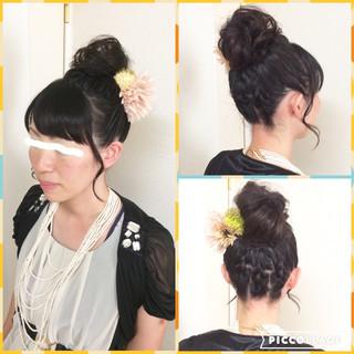 お団子 編み込み 結婚式 ボブ ヘアスタイルや髪型の写真・画像