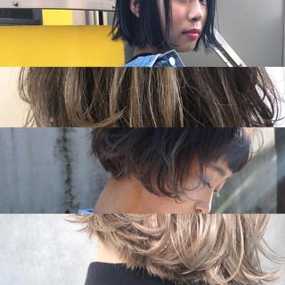 ニュアンス アッシュ ボブ パーマ ヘアスタイルや髪型の写真・画像