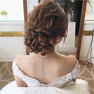 結婚式 パーティ 大人かわいい 上品 ヘアスタイルや髪型の写真・画像