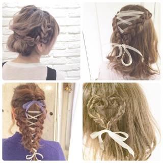 ロング アップスタイル ヘアアレンジ 三つ編み ヘアスタイルや髪型の写真・画像