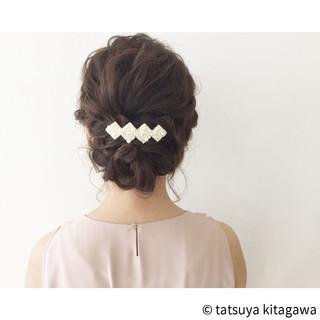 結婚式 ヘアアレンジ ミディアム アップスタイル ヘアスタイルや髪型の写真・画像