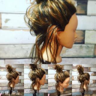 お団子 大人女子 セミロング ヘアアレンジ ヘアスタイルや髪型の写真・画像