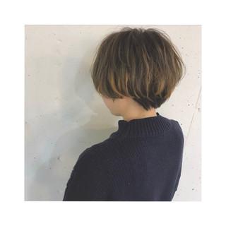 オレンジ ショート ハイライト こなれ感 ヘアスタイルや髪型の写真・画像