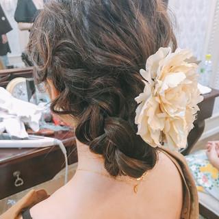 編み込み エレガント 結婚式 夏 ヘアスタイルや髪型の写真・画像 ヘアスタイルや髪型の写真・画像