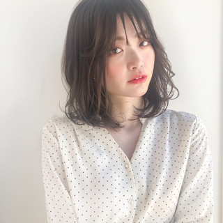 韓国ヘア ロブ タンバルモリ ミディアム ヘアスタイルや髪型の写真・画像