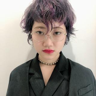 パープル ショート ストリート パープルアッシュ ヘアスタイルや髪型の写真・画像