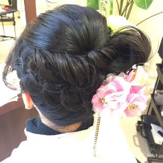 和装 着物 セミロング ヘアアレンジ ヘアスタイルや髪型の写真・画像 ヘアスタイルや髪型の写真・画像