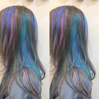 インナーカラー グラデーションカラー バレイヤージュ ハイライト ヘアスタイルや髪型の写真・画像