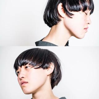 前髪あり ショート モード 暗髪 ヘアスタイルや髪型の写真・画像