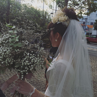 結婚式 ヘアアレンジ 花嫁 ナチュラル ヘアスタイルや髪型の写真・画像