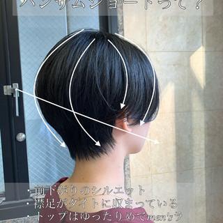 オフィス シースルーバング ショート デート ヘアスタイルや髪型の写真・画像