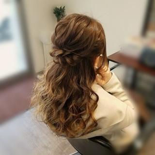 ナチュラル ヘアアレンジ セミロング ハーフアップ ヘアスタイルや髪型の写真・画像