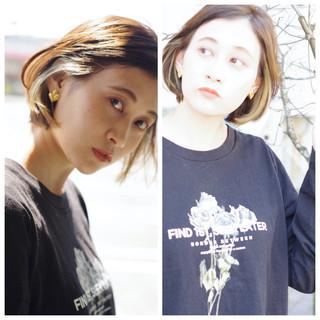 ストリート ミニボブ インナーカラー 切りっぱなしボブ ヘアスタイルや髪型の写真・画像