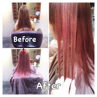ハイトーン ストリート ピンク ダブルカラー ヘアスタイルや髪型の写真・画像