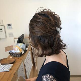 エレガント ヘアアレンジ 切りっぱなしボブ ボブ ヘアスタイルや髪型の写真・画像
