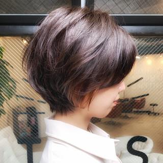 ナチュラル ショート ハイライト ショートボブ ヘアスタイルや髪型の写真・画像