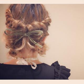 ガーリー 大人かわいい パーティ ミディアム ヘアスタイルや髪型の写真・画像