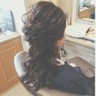 ロング ゆるふわ 編み込み ハーフアップ ヘアスタイルや髪型の写真・画像