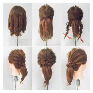 ミディアム 簡単ヘアアレンジ ねじり ヘアアレンジ ヘアスタイルや髪型の写真・画像