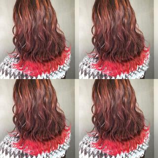 ガーリー ピンク バレイヤージュ 裾カラー ヘアスタイルや髪型の写真・画像
