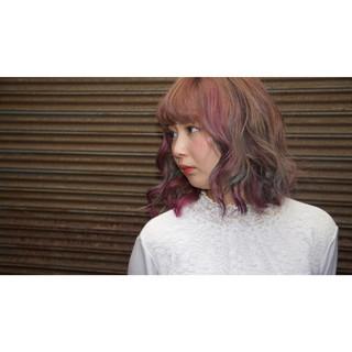 ストリート ピンク グリーン パープル ヘアスタイルや髪型の写真・画像