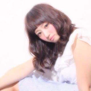 暗髪 ヘアアレンジ 大人女子 ミディアム ヘアスタイルや髪型の写真・画像