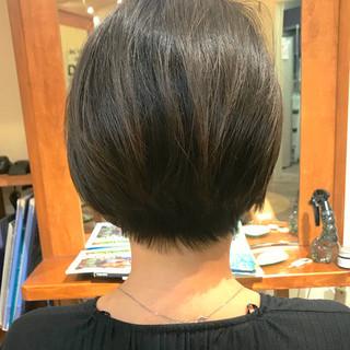 ショートボブ 艶髪 簡単スタイリング ショート ヘアスタイルや髪型の写真・画像