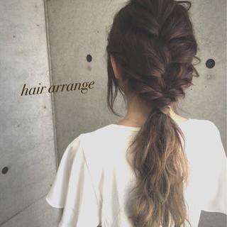 簡単ヘアアレンジ フェミニン ロング ゆるふわ ヘアスタイルや髪型の写真・画像