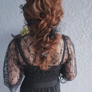 編みおろし 結婚式 デート ロング ヘアスタイルや髪型の写真・画像