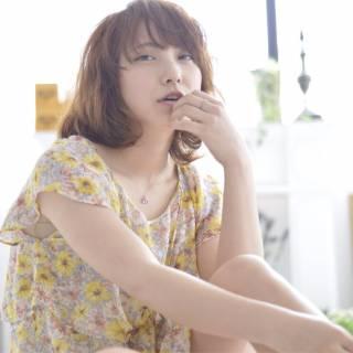 ミディアム 春 ナチュラル パーマ ヘアスタイルや髪型の写真・画像