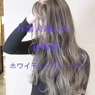 ガーリー グレージュ 透明感 ロング ヘアスタイルや髪型の写真・画像