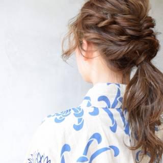 和装 ヘアアレンジ モテ髪 ミディアム ヘアスタイルや髪型の写真・画像