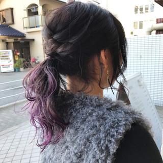 ウェーブ ラベンダーアッシュ ヘアアレンジ ラベンダーピンク ヘアスタイルや髪型の写真・画像