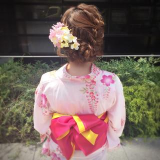 お祭り ロング 渋谷系 夏 ヘアスタイルや髪型の写真・画像