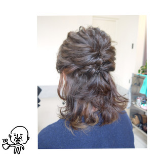 ハーフアップ ナチュラル ミディアム ショート ヘアスタイルや髪型の写真・画像