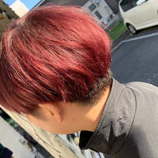 モード デザインカラー 赤髪 レッド ヘアスタイルや髪型の写真・画像