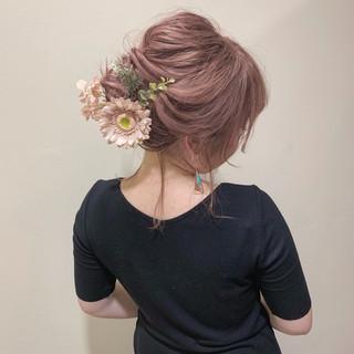 ピンク ミディアム ミルクティーベージュ 簡単ヘアアレンジ ヘアスタイルや髪型の写真・画像