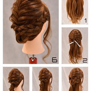 ロング 結婚式 デート 簡単ヘアアレンジ ヘアスタイルや髪型の写真・画像