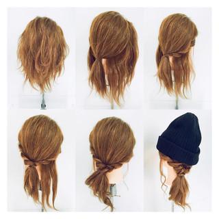 ミディアム 簡単ヘアアレンジ ショート ヘアアレンジ ヘアスタイルや髪型の写真・画像